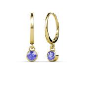 Tanzanite Bezel Set Solitaire Dangling Earrings 0.50 ct tw in 14K Yellow Gold