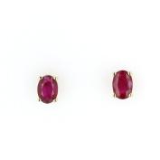 Ruby Stud, 14kt Yellow gold Ruby Stud Earring, 0.70 TCW