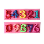 Astra shop 3D Birthday Cake Numbers From 0 To 9 Silicone Mould Number Mould Fondant Moulds With Inserted Hole Fondant Cake Decoration Cake Topper Decorating