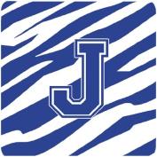 Caroline's Treasures CJ1034-JFC Monogram-Tiger Stripe Blue and White Foam Coasters (Set of 4), Initial Letter J, 8.9cm H x 8.9cm W, Multicolor