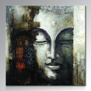 Seekland Art Hand Painted Buddha Face Canvas Wall Art Abstract Oil Painting Modern Deco Contemporary Artwork Framed Ready to Hang