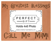 Gift for Grandma Blessings Call Me Mimi Natural Wood Engraved 4x6 Landscape Picture Frame Wood