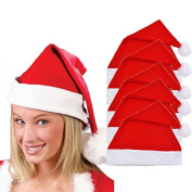FEITONG 5x Adult Unisex Adult Xmas Red Cap Santa Novelty Hat for Christmas Party