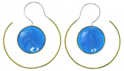 "Boho Style Earrings - 18 Gauge - ""Bluebird"" - Sterling Silver Posts w/ Brass - Resin - One-Sided"