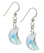 Sterling Silver and Crystal Moon Earrings
