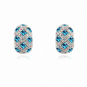 Jewistic Crystal Aquamarine Royal Court Rhodium-Plated Pierced Earrings Made with Elements 7E70079