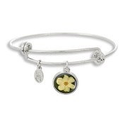 The Adjustable Band Bangle Bracelet featuring the White Orchid Flower