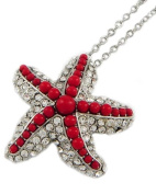Starfish Necklace in Rhodiumized Red Acrylic