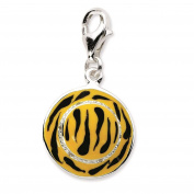 925 Sterling Silver Click-on CZ Enamel 3-D Tiger Hat w/ Lobster Clasp Charm - Amore La Vita Collection