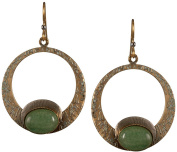 Round Green Stone Texture Hammered Stone Drop Earrings Gold-tone Surgical Steel - Silver Forest