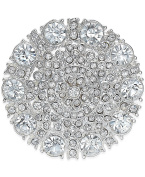 Charter Club Silver Tone Pave Clear Crystal Fancy Shield Pin Brooch, 2.5cm - 1.3cm