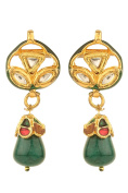 Dilan Jewels PURE Collection Kundan Tops Green Drop Earrings For Women
