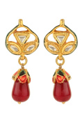 Dilan Jewels PURE Collection Kundan Tops Red Drop Earrings For Women