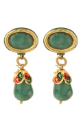 Dilan Jewels PURE Collection Ethnic Green Oval Stud Enamel Drop Earrings For Women