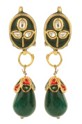 Dilan Jewels PURE Collection Ethnic Kundan Green Enamel Drop Earrings For Women