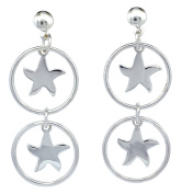Couple Star in Circle Ring Stud Post Women Earrings in 925 Sterling Silver [ISE0128]