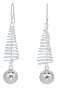 10mm Beads Ball Coil Springs Dangle French Wire Sterling Silver Women Earrings [ISE0121]