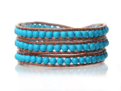 Blue Turquoise Wrap Bracelet Handmade Woven Brown Leather Multilayer 4 mm Round Beads