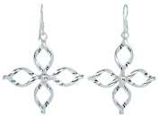 31x47mm. Shiny Four Lobes Twist Earrings Sterling Silver French Wire Type [ISE0026]