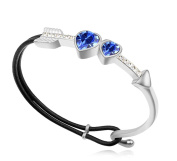 Sojewe Women Charm Cupid Heart Leather Bracelet Deep Blue Elements Crystal White Gold Plated