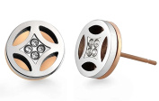 Poonsuk@lucky Rose Gold and Silver Tone Circle Shaped Stainless Steel Stud Earrings.