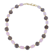 Pearlz Gallery Good Shaped Smoky Quartz, Rose Quartz Gem Stone Beads Necklace for Women