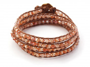 Pink Red Jade Crystal Wrap Bracelet Handmade Woven Multilayer 4mm Faceted Beads Fashion Style