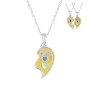 Esty & Me Two Tone Necklace w/ Birthstone Daughter Heart Charm Right Half