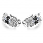 GTE3150 S925 Silver CZ White & Black Stones 0.8 Carats Clip-on Earring Rhodium Plated