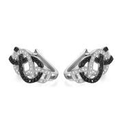 GTE3100 S925 Silver CZ Stones & Black 0.6 Carats Infinity Earring Rhodium Plated