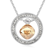 Jewistic Crystal Golden Shadow Temptation Rhodium-Plated Necklace Made with Elements 5L50148