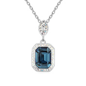 Jewistic Crystal Clear Magic Mirror Rhodium-Plated Necklace Made with Elements 5L50090
