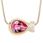 Jewistic Crystal Rose Fish Rose Gold-Plated Necklace Made with Elements 5L50109