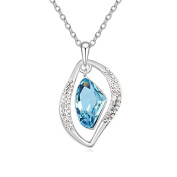 Jewistic Crystal Aquamarine Gianne Rhodium-Plated Necklace Made with Elements 5L50043