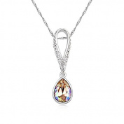 Jewistic Crystal Luminous Green Tears Rhodium-Plated Necklace Made with Elements 5L50033