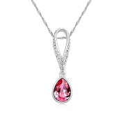 Jewistic Crystal Rose Tears Rhodium-Plated Necklace Made with Elements 5L50028