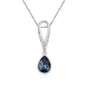 Jewistic Crystal Montana Tears Rhodium-Plated Necklace Made with Elements 5L50027