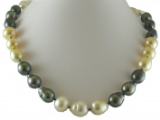 South Sea Multicolor Baroque Pearl Necklace 14mm x 15.9mm 14K White Clasp