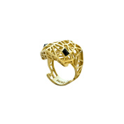 Sterling-Silver 14K Vermeil Plated Viper Ring w/ Onyx size 8