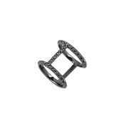 Sterling-Silver Black Rhodium Plated Rock-Stud Ring size 6