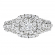 14k White Gold and Prong Set Diamond Ring