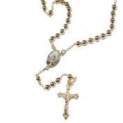 Caridad del Cobre Rosary Necklace 4mm Ball 22 Inch - Caridad del Cobre Yoruba Rosary 18k Gold Plated