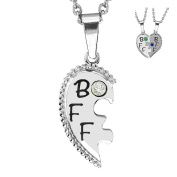 Esty & Me Stainless Steel Necklace w/ Birthstone BFF Heart Charm Left Half