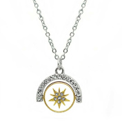 Inspirational Chain Pendant Necklace, 'Dream' - Gold & Silver Two-Toned Flip Charm With Crystal Star