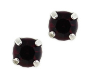 Mariana Silver Plated Petite Round Crystal Post Earrings in Siam