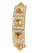 Spikes Stretch Bracelet with Gold Tone Metal Square
