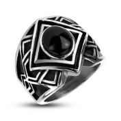 316L Stainless Steel Tribal Cast Onyx Stone Centre Band Ring - Size