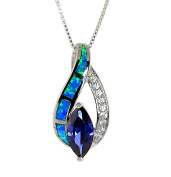 Sterling Silver Created Opal and Simulated Tanzanit Necklace