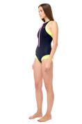 Glidesoul 0.5mm Front Zip One Piece Wetsuit, Lemon/Black/Pink, Large