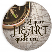 Angelstar 13454 Let Your Heart 4 Piece Auto Coaster Set, Multicolor